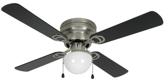 Satin Nickel 42 Hugger Ceiling Fan With Light Kit.