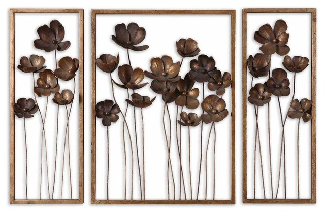 3 Piece Set Fancy Floral Wall Art Metal Gold Leaf Charcoal Gray ...
