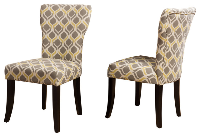 Kalee Yellow And Gray Print Fabric Dining Chairs, Set Of 2