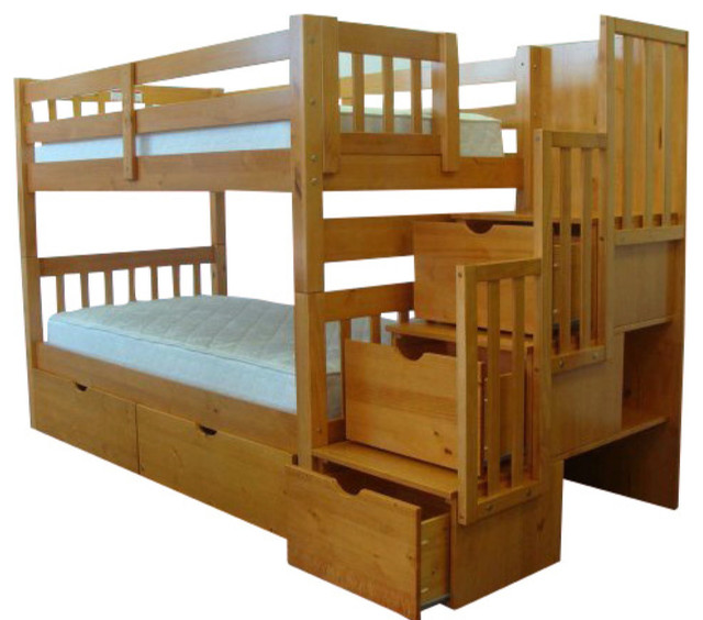 bedz king twin over full stairway bunk bed with twin trundle
