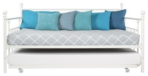 Pemberly Row Full Metal Daybed With Twin Trundle, White.