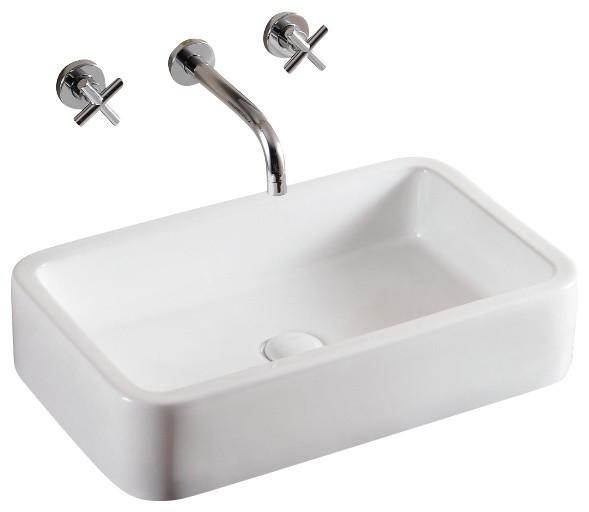 Rectangular White Ceramic Vessel Bathroom Sink Contemporary Bathroom Sinks By Thebathoutlet