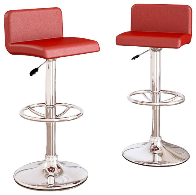Sonax CorLiving Low Back Bar Stools Red Leatherette Set of 2 transitional- bar  sc 1 st  Houzz : red bar stool chairs - islam-shia.org