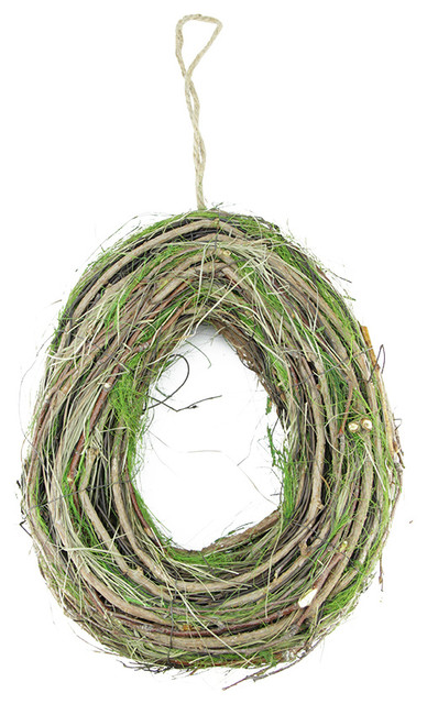 Grapevine Twig And Green Moss Egg Shaped Wreath 11