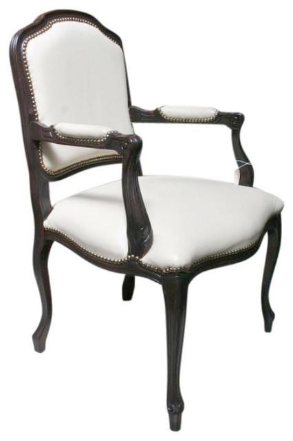 white leather dark wood nailhead frame armchair 600 est retail