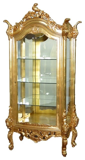 Beau Real Gold Leaf Italian Style Curio Display Showcase Vitrine Cabinet    Victorian   China Cabinets And Hutches   By MBW Furniture