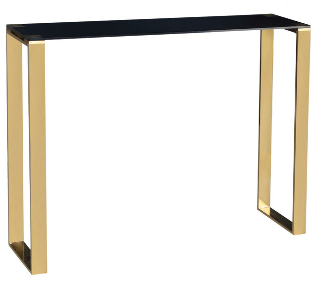 Cortesi Home Remini Narrow Contemporary Glass Console Table, Polished Gold.