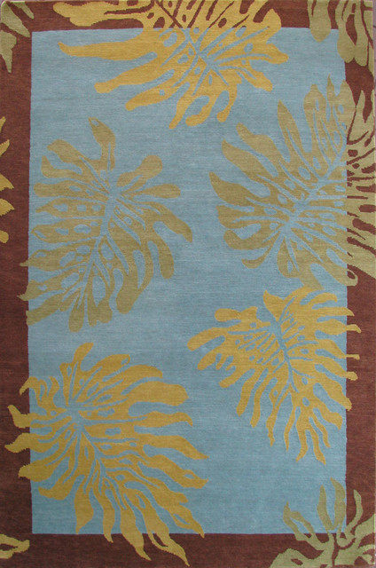 Monstera Design Hawaiian Rug Blue Green 2 X 3 Tropical