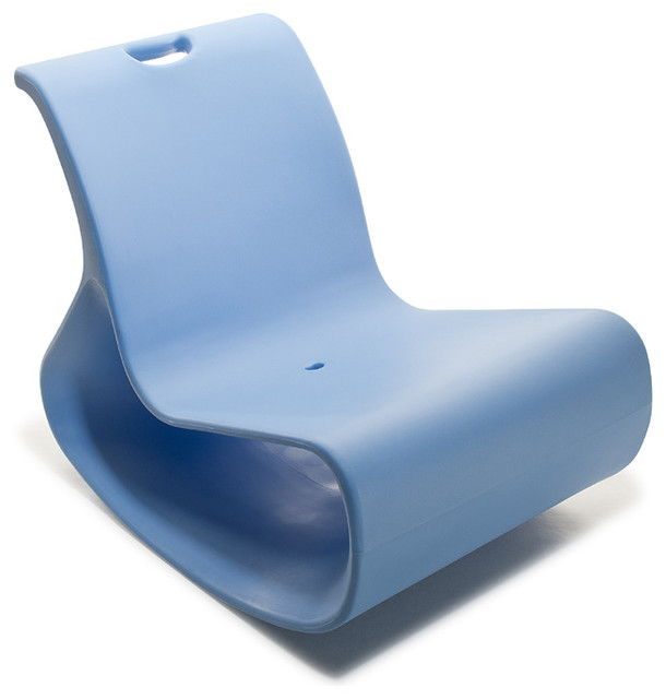 Modern Plastic Outdoor Lounge Chair, Offi Mod Lounger, Blue