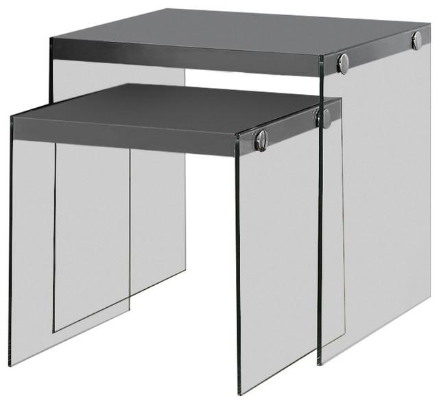 nesting table 2pcs set glossy grey tempered glass