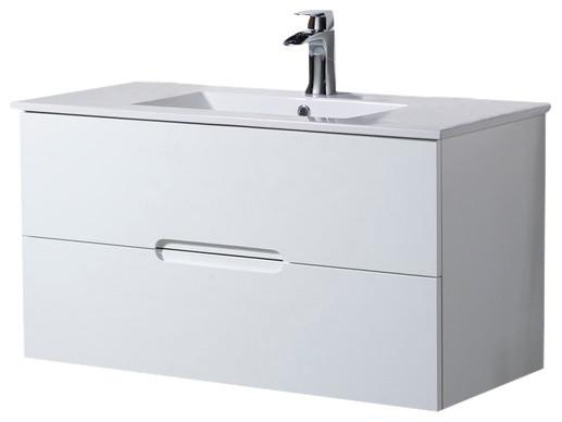Wall Mount Bathroom Vanity Elton 40  with Porcelain Sink Top  Matte White  modern. Wall Mount Bathroom Vanity Elton 40  with Porcelain Sink Top