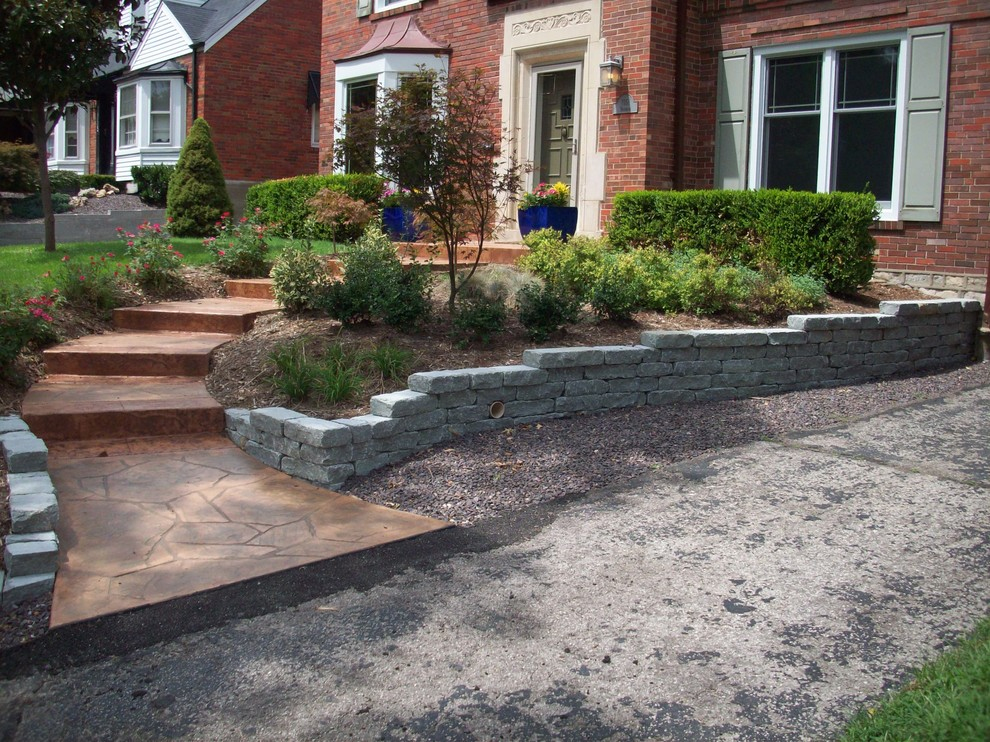 University City, Missouri Limestone Walls with Stamped Concrete Walkway/Steps