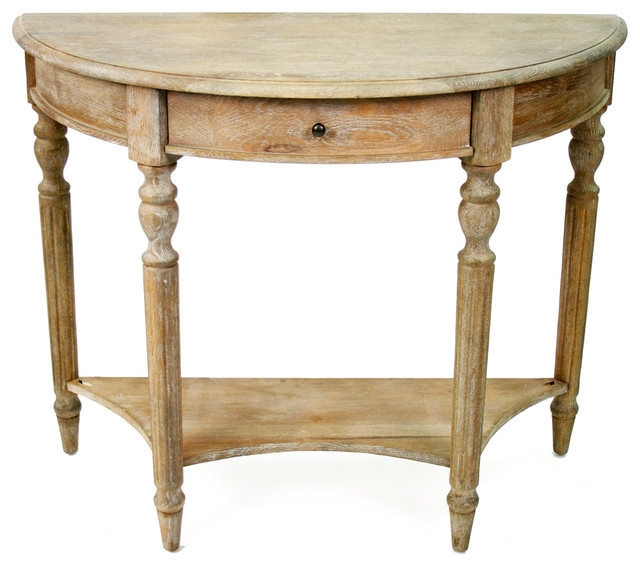 Traditional French Country Style Demilune Console Table - French country style console table