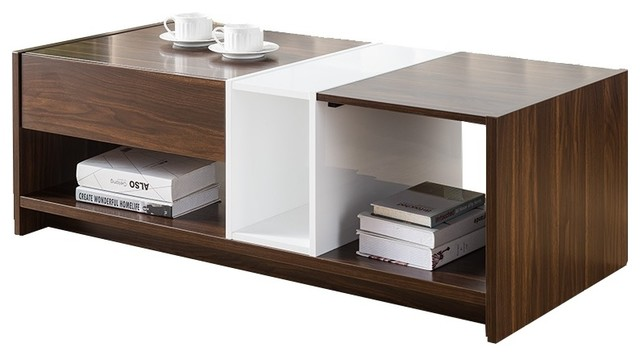 Lovely 151346CT Smart Home Glossy White And Dark Walnut Coffee Table Coffee Tables