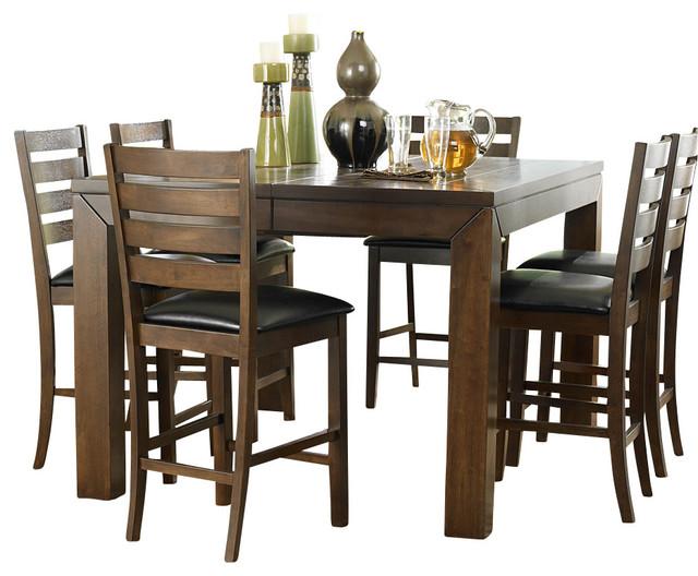 homelegance eagleville 8 piece counter dining room set in brown