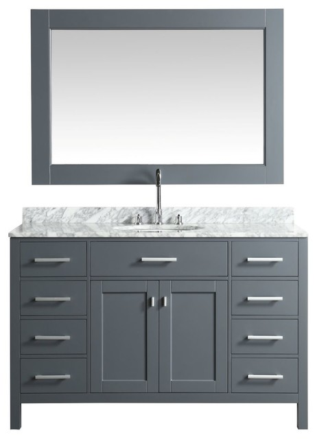 Design Element London 54 Single Sink Vanity Set, Gray With Marble Top by DESIGN ELEMENT