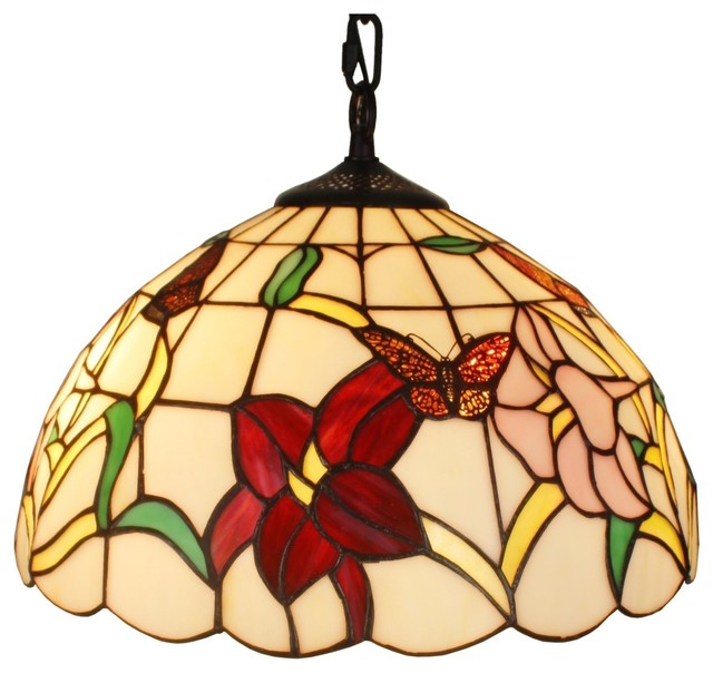 Amora Lighting Tiffany Style Floral Hanging L& 14 Inches victorian-pendant -lighting  sc 1 st  Houzz & Amora Lighting Tiffany Style Floral Hanging Lamp 14 Inches ... azcodes.com
