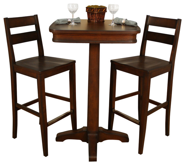 American Heritage Taylor 3 Piece Pub Table Set With Tyler Barstools In  Sierra Traditional