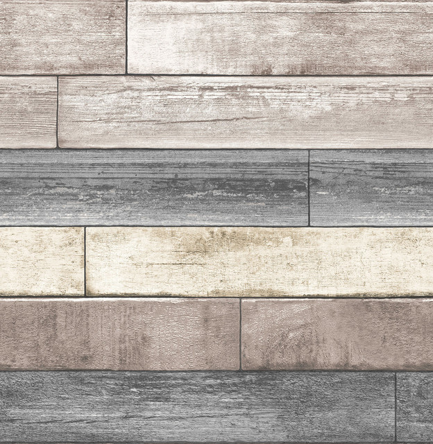 Weathered Wood Plank Peel And Stick Wallpaper Modern Wallpaper By American Wallpaper Design