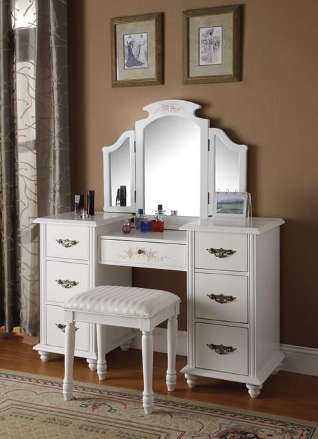 Acme 90026 90027 Torian 3 Pcs White Finish Vanity Set