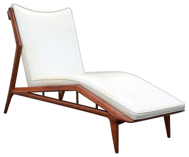 Erwin Lambeth Mid-Century Modern Sculpted Walnut Chaise Lounge.