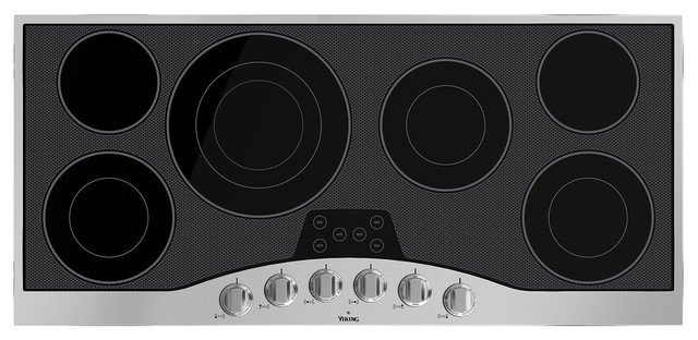 """Viking 45""""ide Built-In Electric Cooktop, Stainless Black."""
