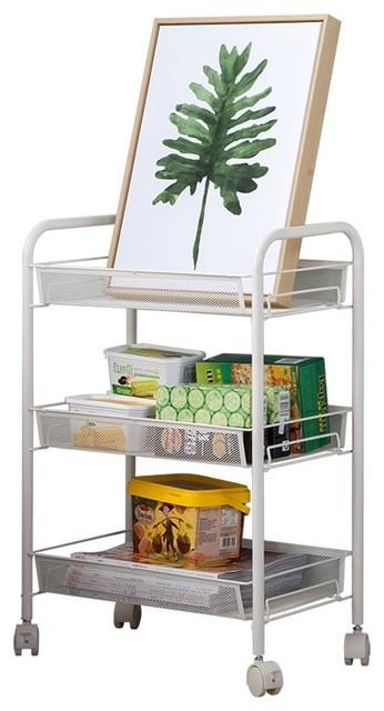 Js Home 3 Tier Rolling Cart Kitchen Storage Cart Mesh Wire White