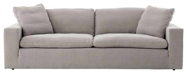 Plume Upholstered Block Arm Pewter Gray Sofa 96.