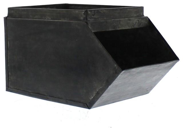 "8"" Retro Industrial Metal Stacking Bin, Storage Organizer Container."
