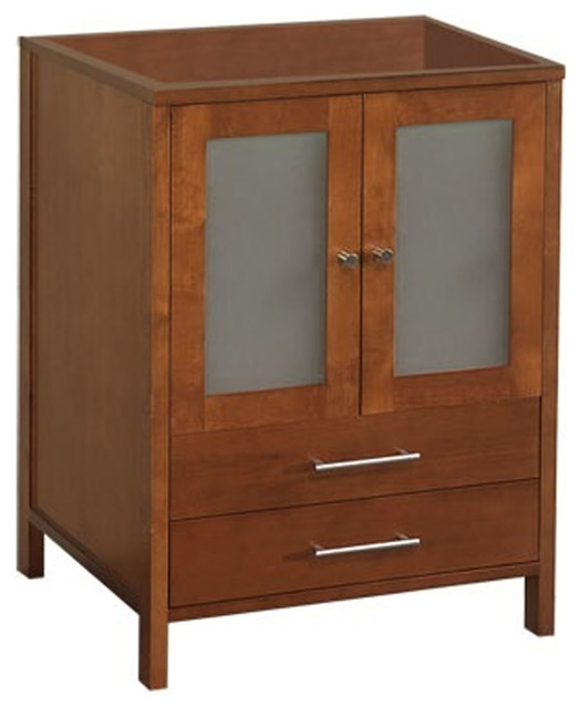 "24"" Cynthia Bathroom Vanity Base Cabinet With Frosted Glass, Natural Cherry"