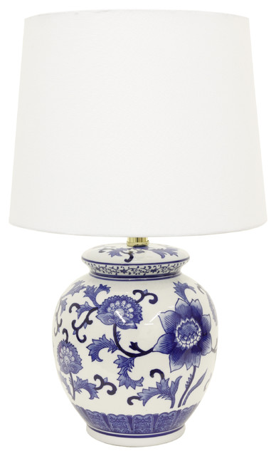 Blue And White Ceramic Table Lamp.