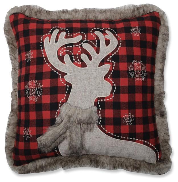 Fur Reindeer Square RedBlack Throw Pillow 40 Rustic Custom Red And Black Decorative Pillows
