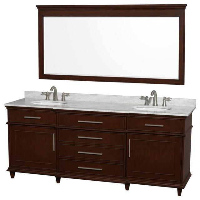 Double Bathroom Vanity Set Dark Chestnut With Ivory Marble Top 80 Traditional Bathroom