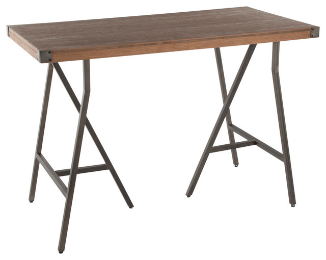 Lumisource Trestle Counter Table, Antique Metal and Brown Wood