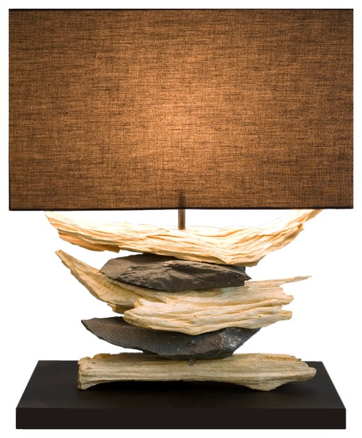 Attractive Element Driftwood And Natural Stone Table Lamp Beach Style Table Lamps