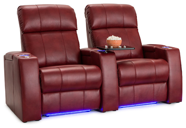 Seatcraft Sonoma Leather Gel Home Theater Seating Red Row Of 2