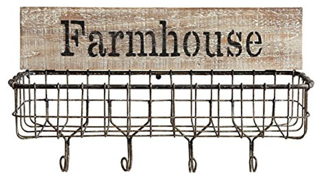 16x5x9.75 Wood And Wire Wall Basket Farmhouse With Hooks.