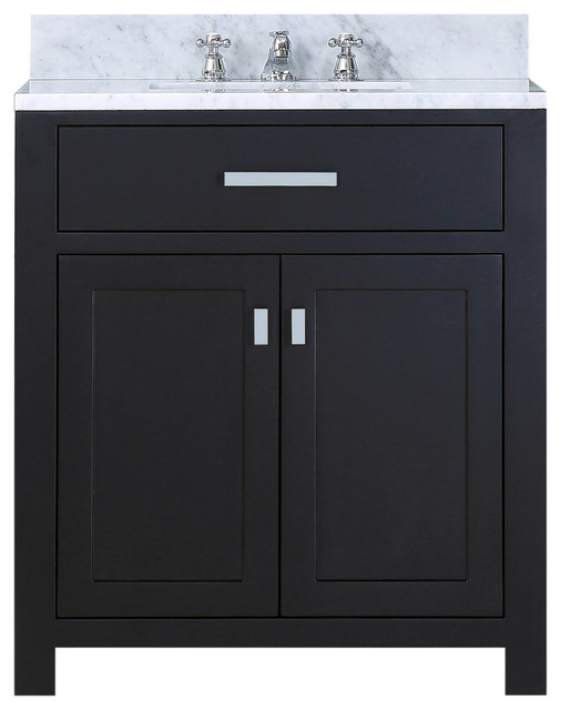 "Bartlett Espresso Bathroom Vanity, Without Mirror, Without Faucet, 30""."