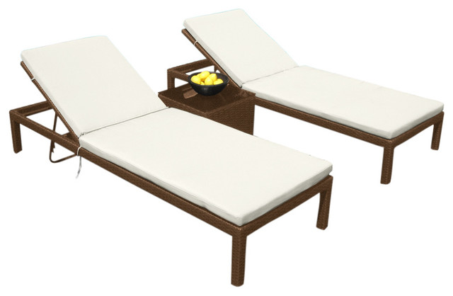 Outdoor Patio Wicker Furniture All Weather 3-Piece Resin Pool Lounge Set.