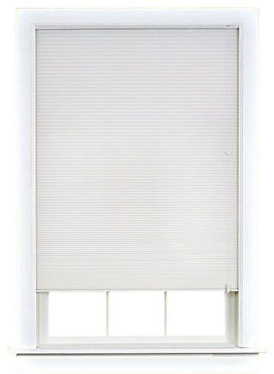 "Honeycomb Cellular Pleated Shade, White, 23""x64""."