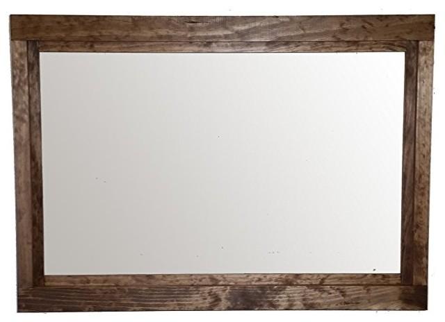 Special Walnut Farmhouse Style Vanity Mirror, 36x30 by Renewed Decor and Storage