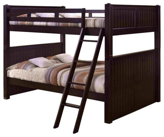 Foster Queen Size Bunk Beds With Twin XL Storage Trundle, Espresso