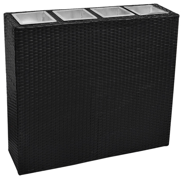 vidaXL Garden Rectangle Rattan Planters Set, Black