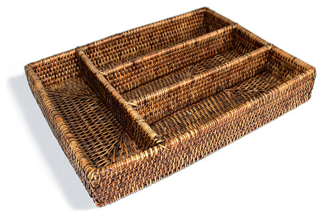 Rattan Tray Flatware Compartment.
