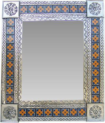 Medium Silver Flower Tile Talavera Tin Mirror.