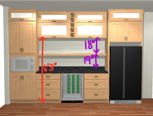 Right height for shelves in kitchen bar area?