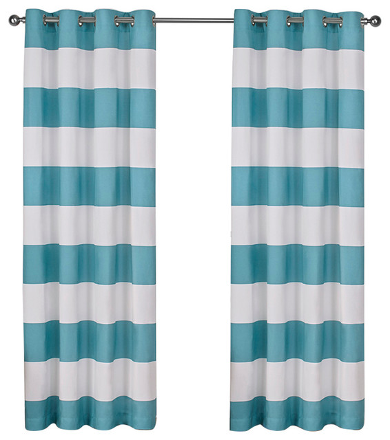 "Surfside Grommet Top Curtain Panels, Set Of 2 / Panel Pair 2 - 54"" X 96"", Teal."