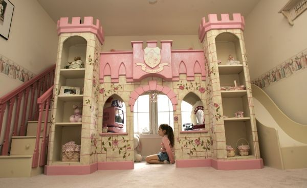 Girls Princess Loft Bed eclectic-kids
