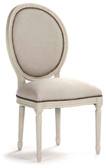 Superb Pair Madeleine French Country Oval Linen Burlap Dining Side Chair  Traditional Dining Chairs