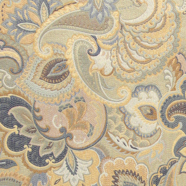 Blue White And Gold Abstract Floral Upholstery Fabric By The Yard